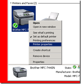how to change printer port number