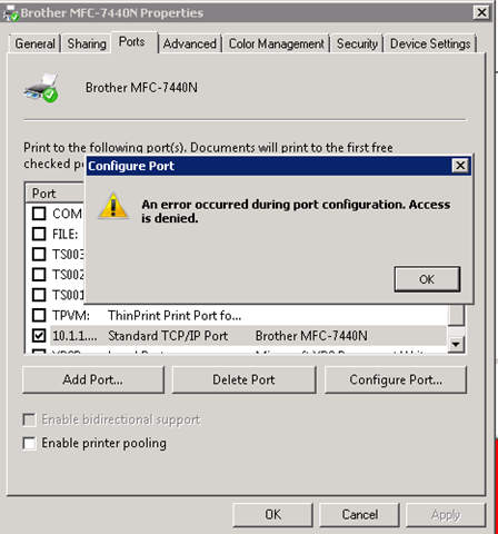 Access Denied message when changing printer port